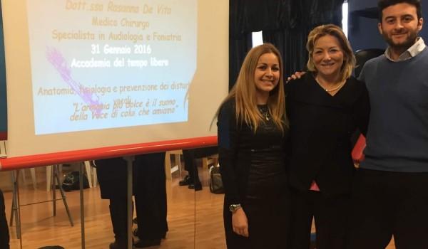 Seminario sulla prevenzione dei disturbi della voce presso L'Accademia del Tempo Libero a Passo Corese con l'Insegnante di Canto Elsa Baldini